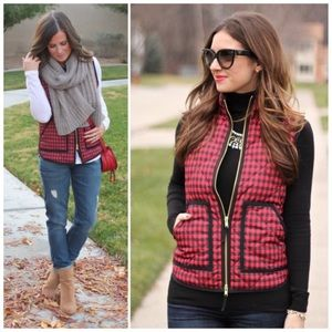 J. Crew red buffalo check quilted down vest sz XS